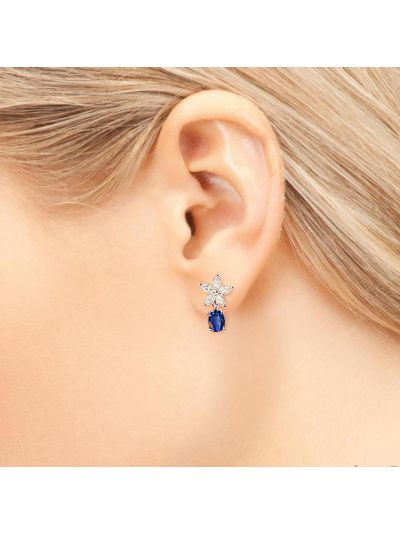Blue Sapphire Diamond Earrings (0.88ct. tw.) in 18K White Gold