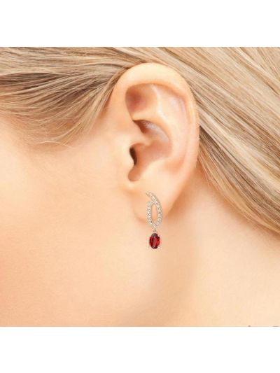 Burgundy Garnet Diamond Earrings (1.11ct. tw.) in 18K White Gold
