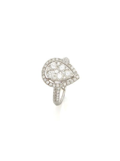 Large Cluster-Pear Diamond Ring (1.21 ct. tw.) in 18K White Gold