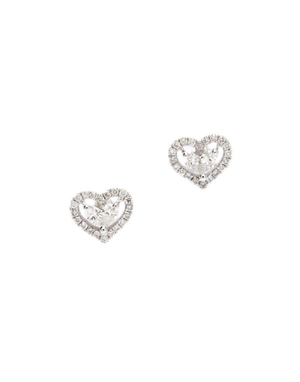 earrings gold stud in round ct diamond white tw