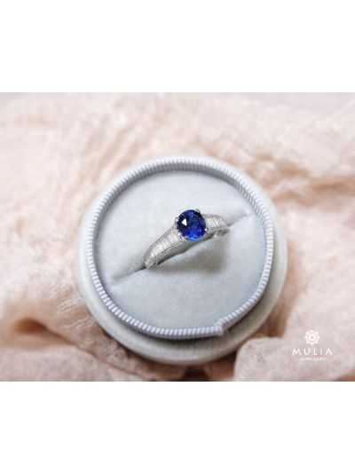1.62 Carat Preset Blue Sapphire Diamond Ring in 18K White Gold