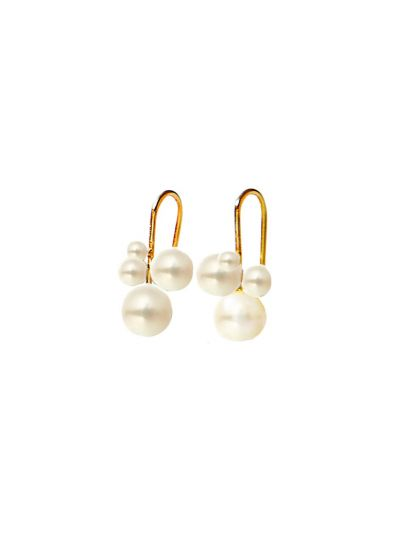 MOYA Freshwater Pearl Earrings in 18K Yellow Gold