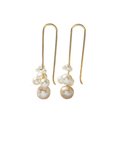 MOYA Freshwater Pearl Long Earrings in 18K Yellow Gold