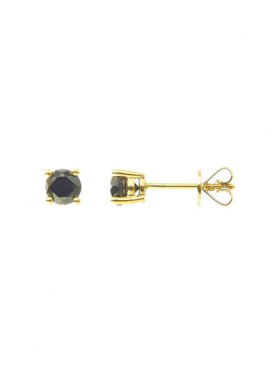Black Diamond Single Ear Stud (0.50ct. tw.) in 18K Yellow Gold