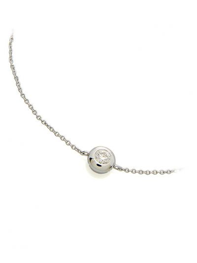 Solitaire Diamond Bracelet (0.11ct. tw.) in 18K White Gold