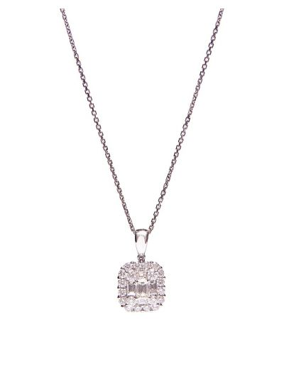 Large Cluster-Cushion Diamond Pendant (1.28 ct. tw.) in 18K White Gold