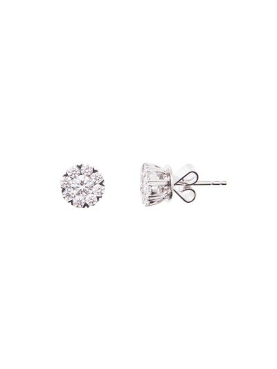 Fancy Prongs Diamond Earrings (0.93ct. tw.) in 18K White Gold