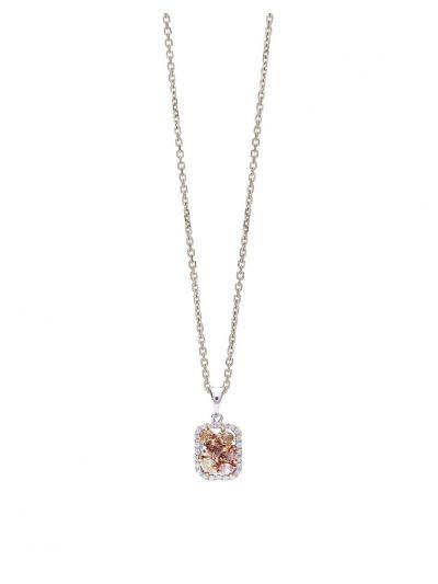 Fancy Colour Diamond Pendant (0.56ct. tw.) in 18K White Gold