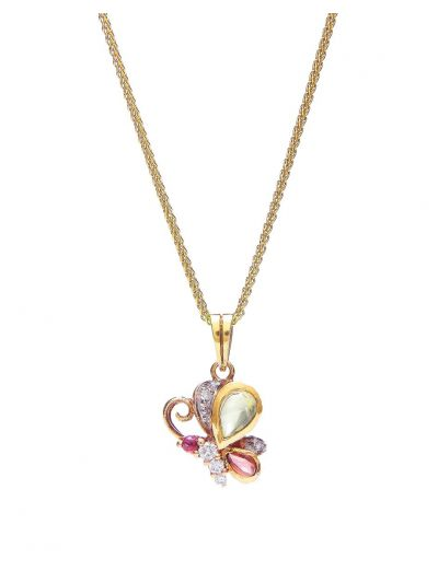 Butterfly Diamond Pendant in 18K Yellow Gold