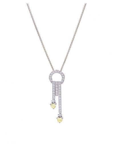 Fancy Yellow Hearts Diamond Pendant (0.51ct. tw.) in 18K White Gold