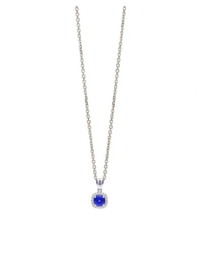 Blue Sapphire Cushion Pendant (0.68ct. tw.) in 18K White Gold