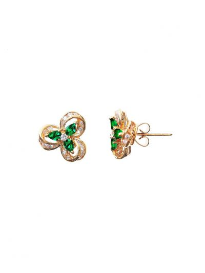 Victorian Emerald Diamond Earrings (1.10ct. tw.) in 18K Yellow Gold
