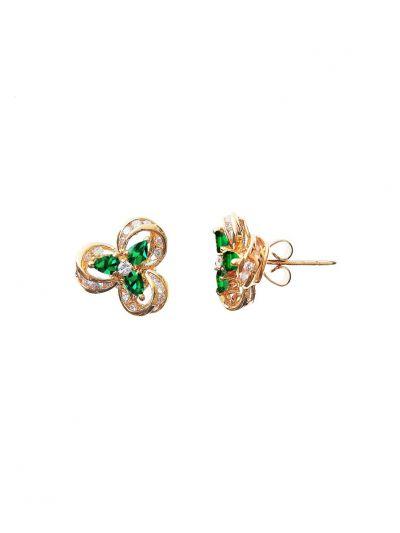 Victorian Emerald Diamond Earrings (1.10ct. tw.) in 18K Yellow Gold