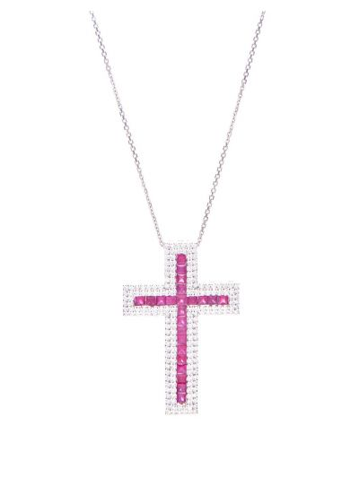 Large Ruby Cross Pendant (3.37ct. tw.) in 18K White Gold