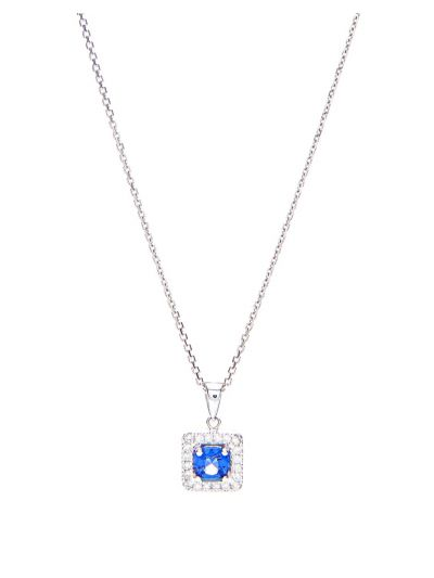 Blue Spinel Pendant (0.85ct. tw.) in 18K White Gold
