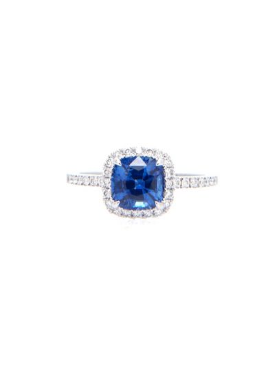 1.33 Carat Preset Blue Sapphire Cushion Diamond Ring in 18K White Gold