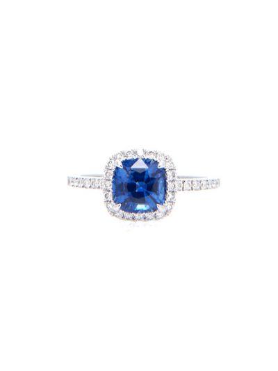 1.33 Carat Preset Blue Sapphire Cushion Diamond Ring in 18K White Gold