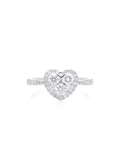 Heart Diamond Ring (0.74 ct. tw.) in 18K White Gold