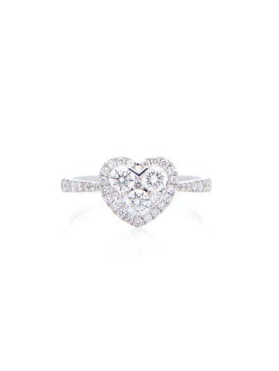 Heart Diamond Ring (0.74 ct. tw.) in 18K White Gold