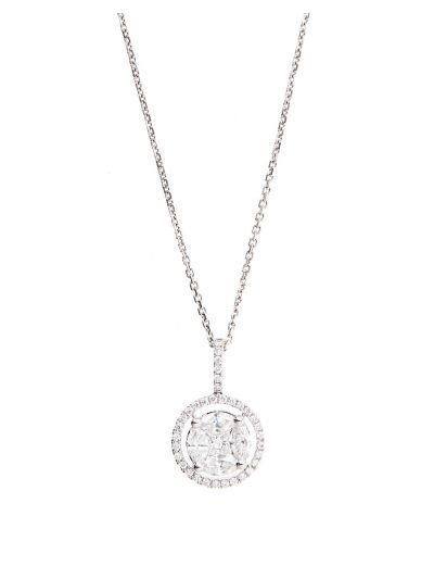 Ronde Diamond Pendant (0.86ct. tw.) in 18K White Gold
