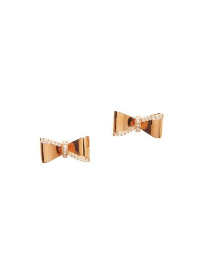 Ribbon Diamond Earrings (0.14ct. tw.) in 18K Rose Gold