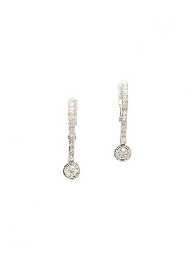 Straight Long Diamond Earrings (0.44ct. tw.) in 18K White Gold