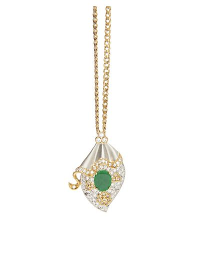 Royal Jade Diamond Victorian Pendant in 18K Yellow Gold