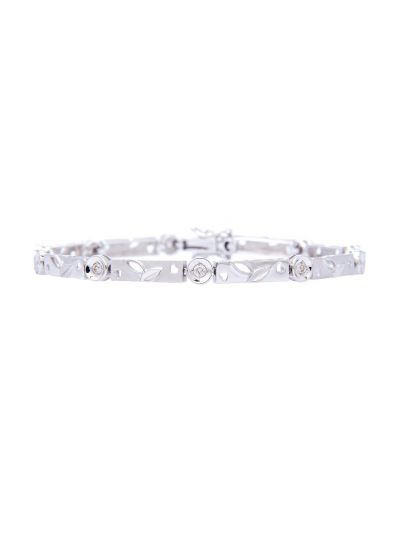 Metallic Diamond Bracelet (0.10ct. tw.) in 18K White Gold