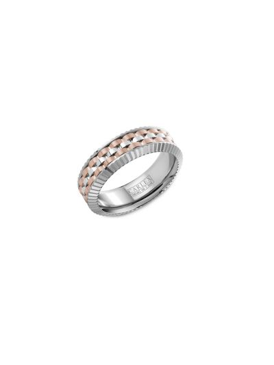 CARLEX 7mm Male Luxury Ring in 18K White/Rose Gold