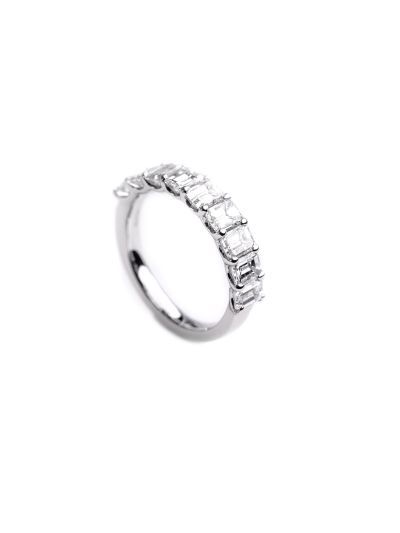 5.0mm Emerald Cut Diamond Eternity Band (2.26ct. tw.) in 18K White Gold