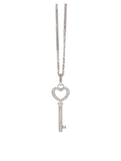 Petite Key Diamond Pendant (0.14ct. tw.) in 18K White Gold
