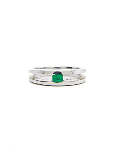Green Emerald Ring in 14K White Gold