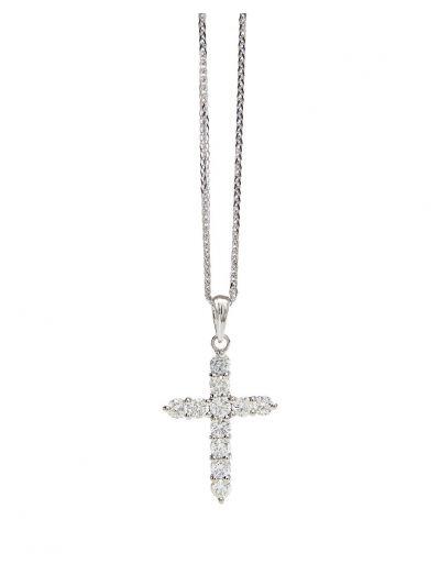Classic Cross Diamond Pendant (0.71ct. tw.) in 18K White Gold