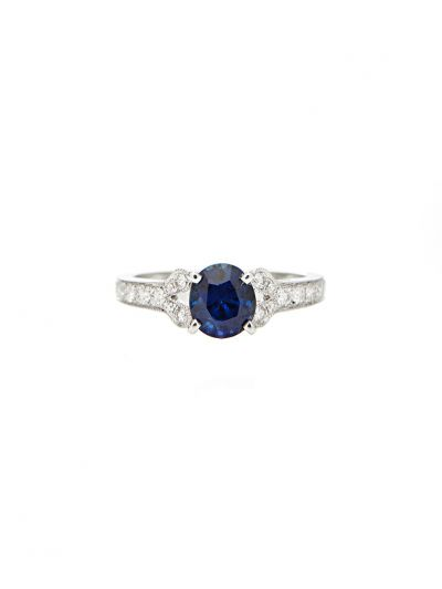 1.25 Carat Preset Blue Sapphire Diamond Ring in 18K White Gold