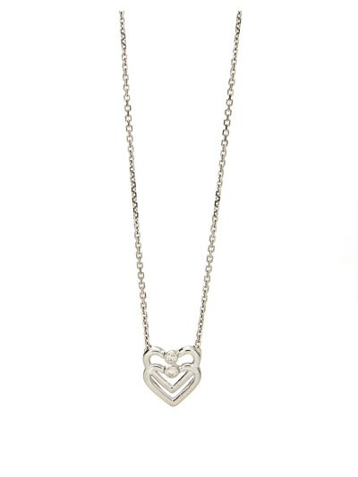 Duo Heart Diamond Pendant (0.06ct. tw.) in 18K White Gold