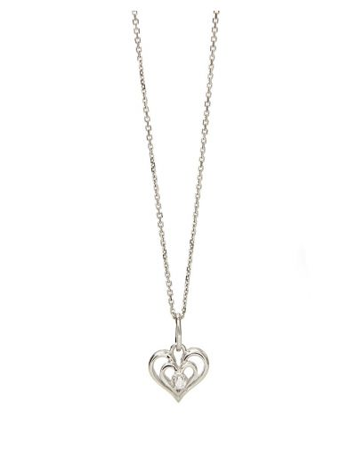 Heart Diamond Pendant (0.05ct. tw.) in 18K White Gold