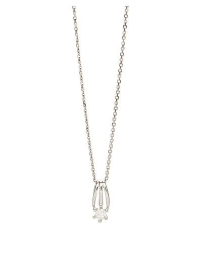 Mini Solitaire Diamond Pendant (0.17ct. tw.) in 18K White Gold