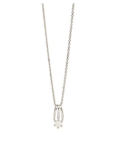 Mini Solitaire Diamond Pendant (0.17ct. tw.) in 18K White Gold