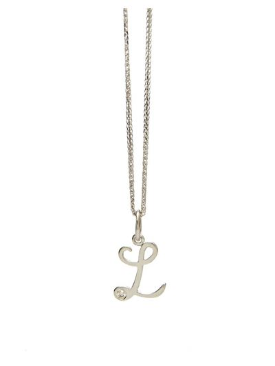 Letter-L Diamond Pendant (0.015ct. tw.) in 18K White Gold