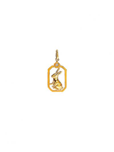 ZodiacRabbit Diamond Pendant in 18K Yellow Gold