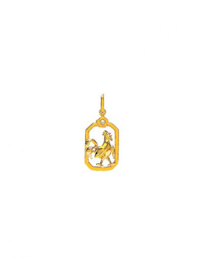 ZodiacRooster Diamond Pendant in 18K Yellow Gold