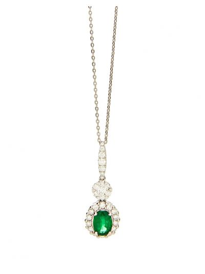 Allure Emerald Diamond Pendant (1.54ct. tw.) in 18K White Gold