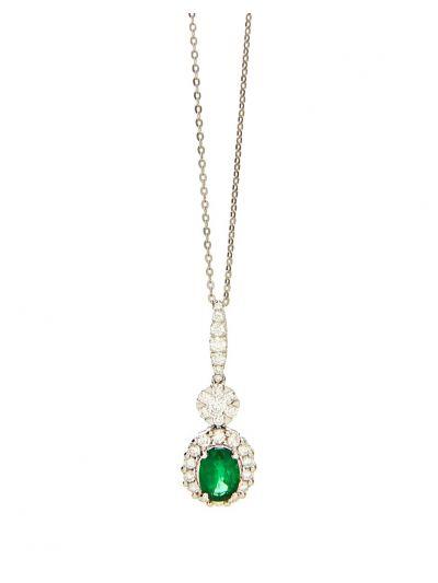 Allure Emerald Diamond Pendant (1.54ct. tw.) in 18K White Gold