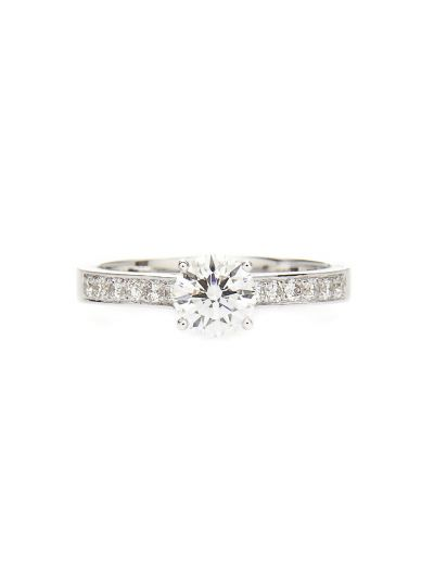 0.61 Carat Preset Perfect Engagement Diamond Ring in 18K White Gold