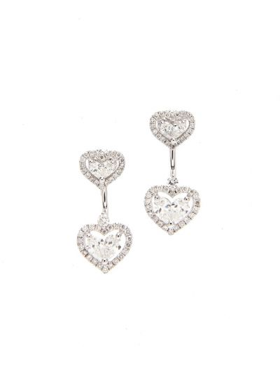 Duo-wear Heart Diamond Earrings (1.33ct. tw.) in 18K White Gold