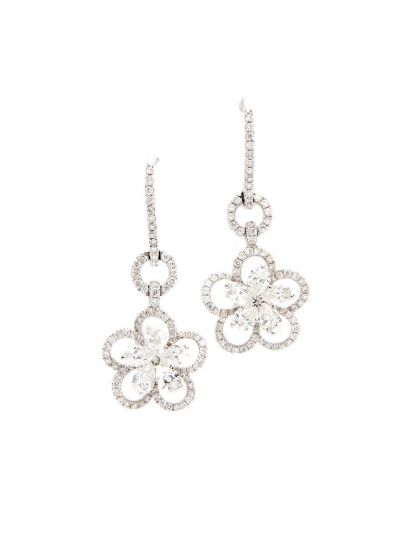White Lily Diamond Earrings (1.89ct. tw.) in 18K White Gold