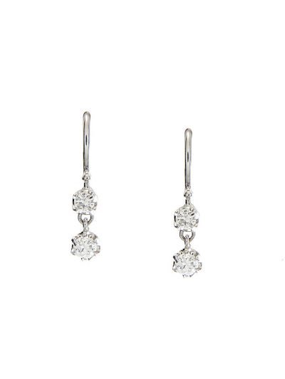 Petite Duo Diamond Earrings (0.28ct. tw.) in 18K White Gold