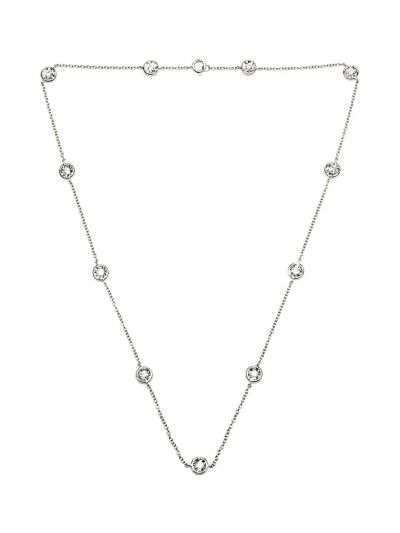 Bezel Diamond Necklace (0.11ct. tw.) in 18K White Gold