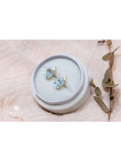 Baby Blue Acquamarine Diamond Earrings (3.72ct. tw.) in 18K Yellow Gold Gold