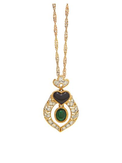Royal Green Emerald Victorian Pendant in 18K Yellow Gold